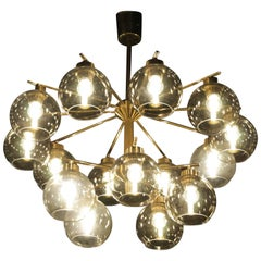 Hans Agne Jakobsson Brass and Glass Chandelier