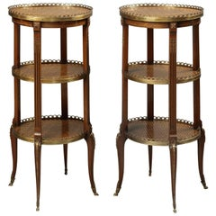Fine Pair of Marquetry Inlaid Three-Tier Étagère Tables