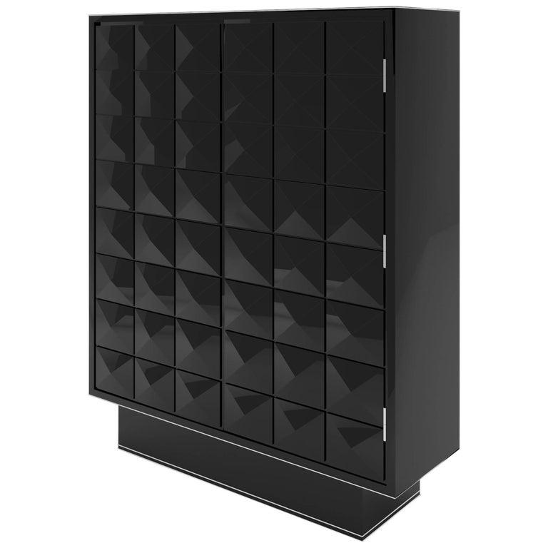 Diamond Pattern Black Lacquer Cabinet
