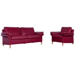 Rolf Benz 3300 Leather Sofa Set Red Two-Seater and One-Seater