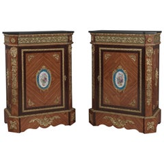 Pair of Gilt-Bronze Mounted Walnut Side Cabinets