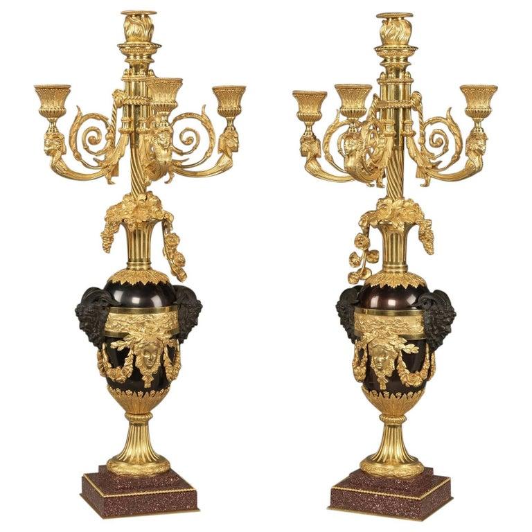 Pair of Louis XVI Style Four-Light Candelabra After Rémond