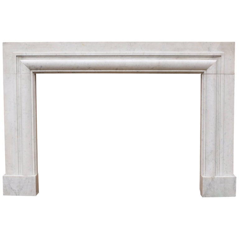 Art Deco 1920s Bolection Carrara Marble Fireplace
