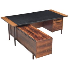 Sven Ivar Disten Restored Corner Desk in Leather and Rosewood