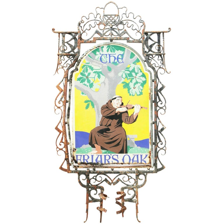 Early 20th Century English Wrought Iron and Enameled Pub Sign