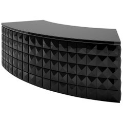 Diamond Pattern Black Lacquer Desk