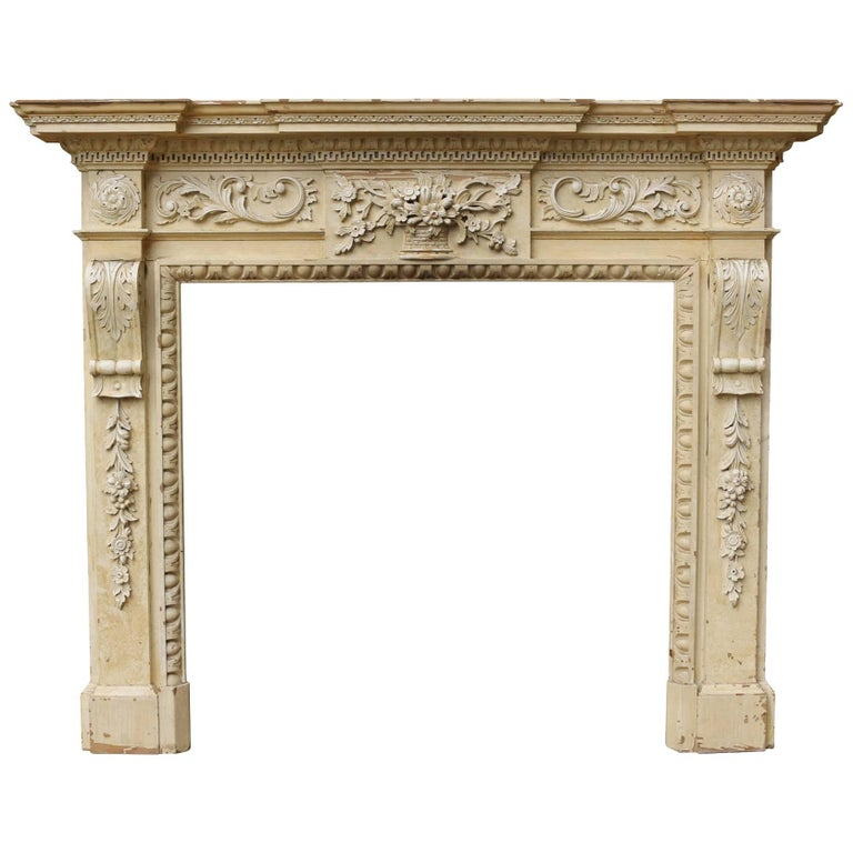 English Carved Pine Fire Surround, circa 1920