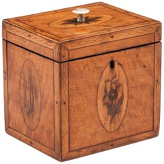 Georgian Antique Single Satinwood Tea Caddy, 18th Century