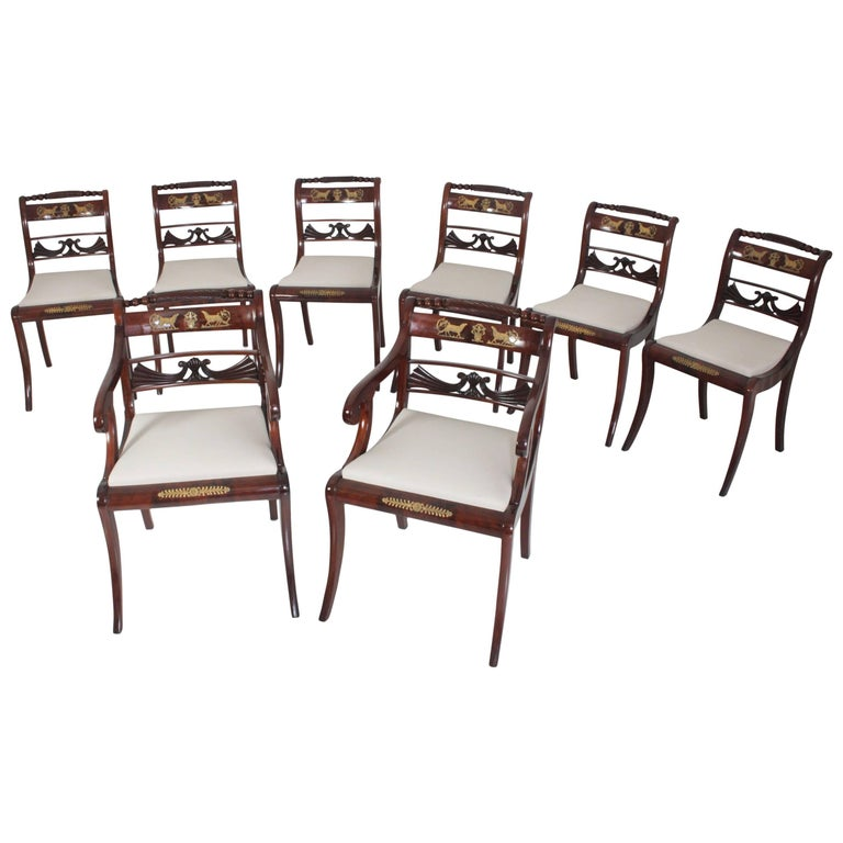 Set of Eight Dining Room Chairs and Armchairs, Northern Germany, circa 1830