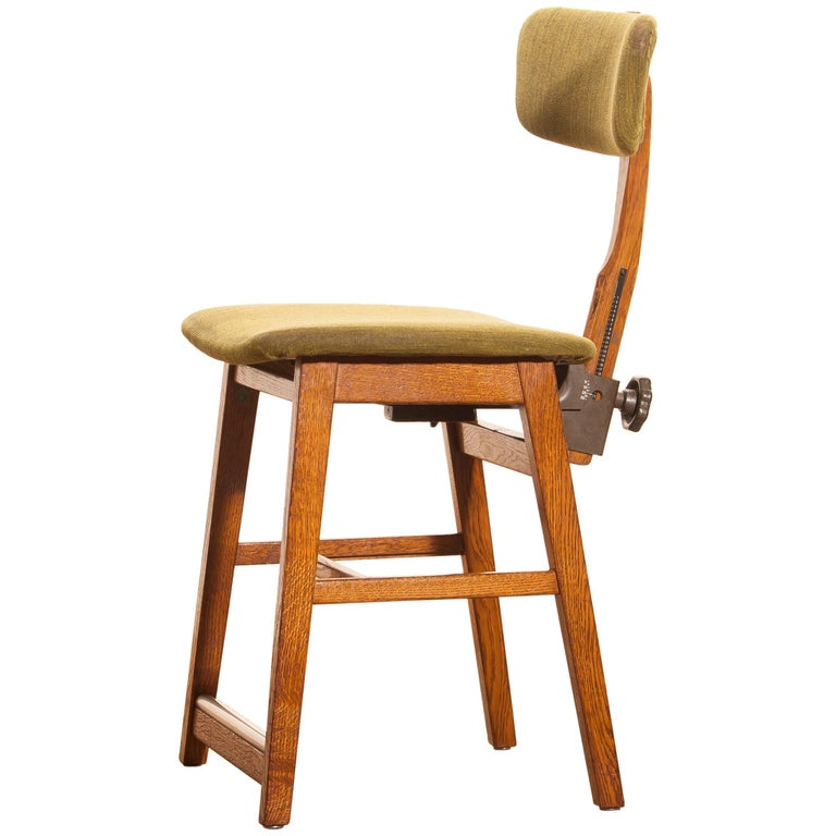 1960s, Teak and Wool Desk Chair by Âtvidabergs Sweden For Sale