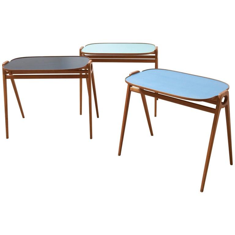 German Modernist WK Mobel Stacking Nesting-Side Coffee Tables in Walnut, 1960s