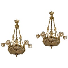 Fine Pair of Gilt-Bronze and Crystal Six-Light Basket Chandeliers