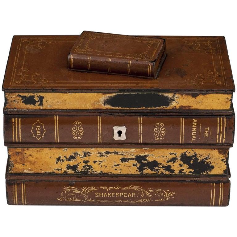 Shakespeare Book Tea Caddy Box Papier Mache Gold Leaf 19th Century
