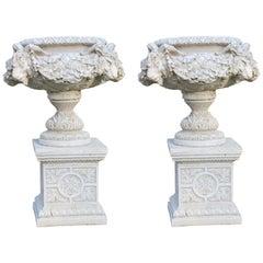 Pair of Heavy Composite Stone Ram's Head Garden Urns on Pedestals