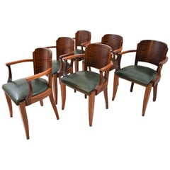 Fabulous Gaston Poisson Art Deco Armchairs in Solid Mahogany, 1930s