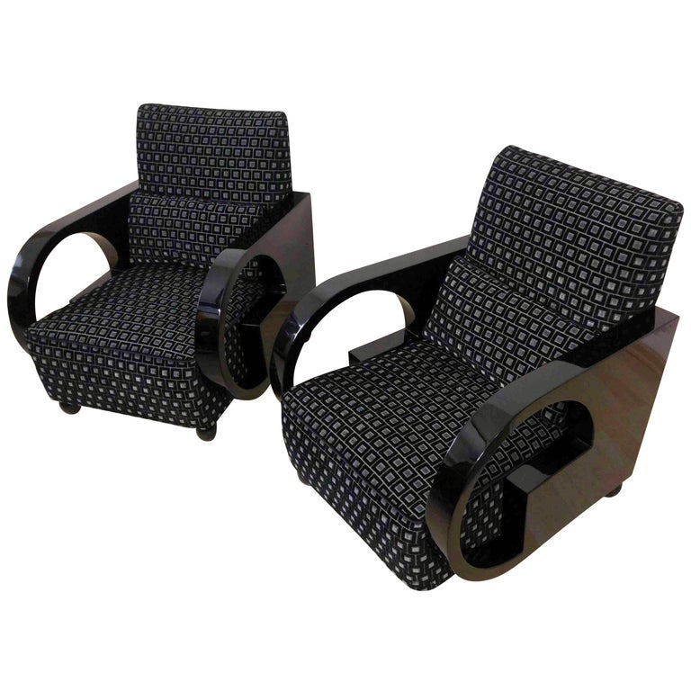 Pair of Art Deco Armchairs, Black Polished Wood, France circa 1930