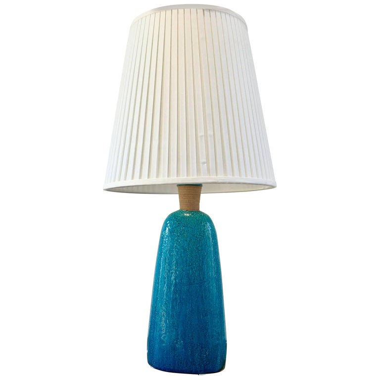 Large 1950s Turquoise Midcentury Table Lamp by Nils Kähler