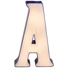 1970s Italian Vintage Plastic Light Letter A in White and Blue Profile