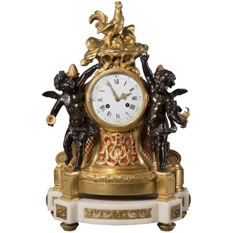 Fine Louis XVI Style Gilt and Patinated Bronze Figural Clock