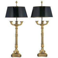 Pair of Empire Style Candelabra with Entwined Serpents