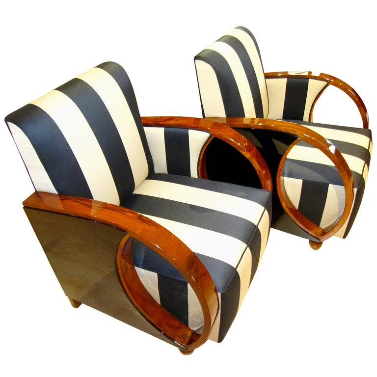 Pair of Art Deco Club Chairs, Walnut and Ebonized, France circa 1930