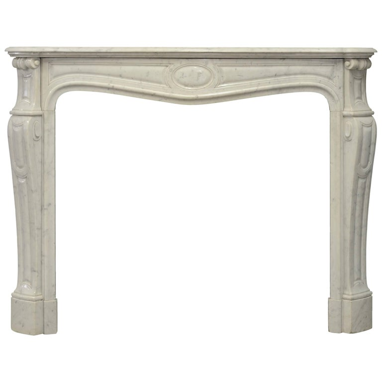 Antique Pompadour Style Fireplace Mantel in Carrara Marble