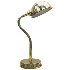Late Century Retro British Brass Goose Neck Desk / Table Lamp Adjustable Shade