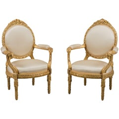 Fine Pair of Louis XVI Style Fauteuils à la Reine