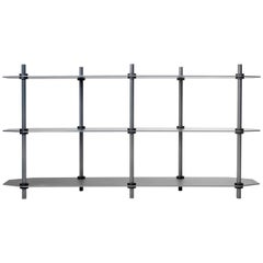 Low Hex Shelving in Anodized Gradient, Modular Knock Down Aluminium