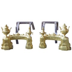 18th-19th Century French Ormolu Neoclassical Andirons
