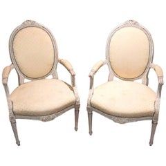 19th Century Pair of French Louis XVI Painted Armchairs