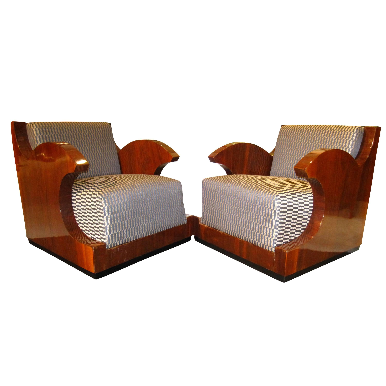 Beau Pair Of Art Deco Club Chairs, Walnut Veneer, Southern France Circa 1925