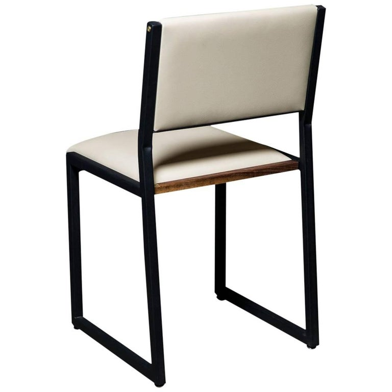 Shaker Modern Chair by Ambrozia, Walnut, Black Steel, Cream Premium Vinyl For Sale