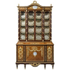 Fine Louis XVI Style Display Cabinet with Wedgwood Porcelain Plaques
