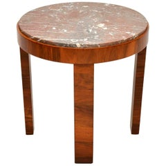 1920s Art Deco Walnut and Marble Coffee Table