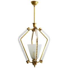 Murano Reticello Ceiling Lamp or Lantern, 1950s