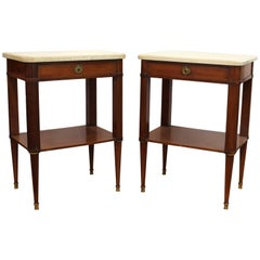 Maison Jansen style Mahogany and Marble-Top Nightstands