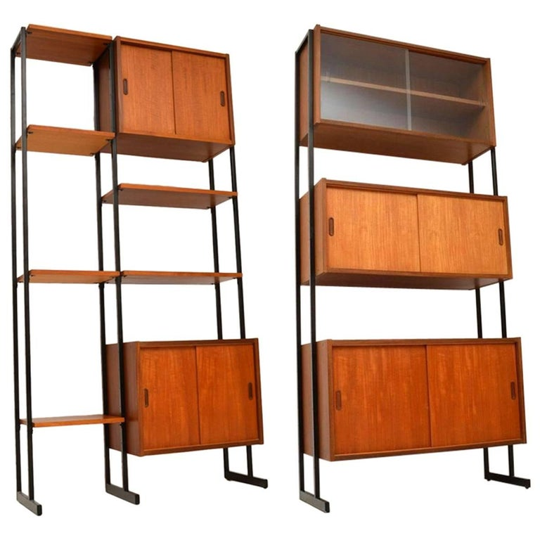 1960s Vintage Pair of Teak Wall Units / Room Divider Cabinets
