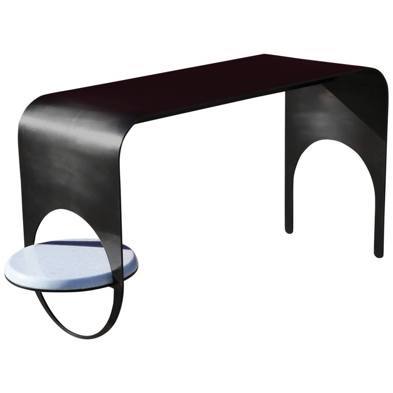 Thin Table 2 in Contemporary Blackened Steel with Blue Marble Shelf