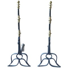 17th Century Dutch Louis XIII Andirons or Firedogs