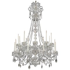 George III Style Cut-Glass Twenty-Light Chandelier
