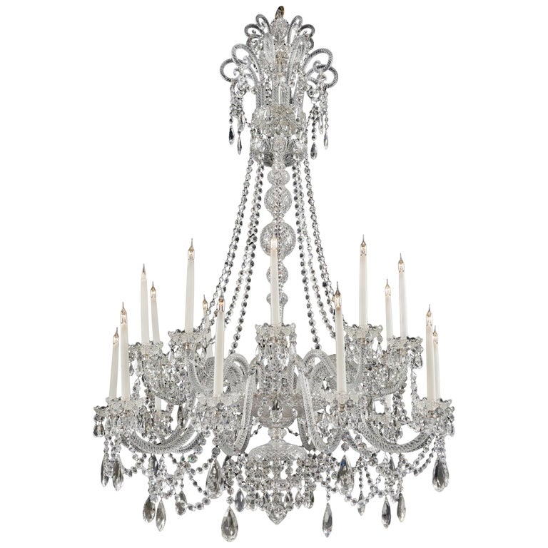George III Style Cut-Glass Twenty-Light Chandelier For Sale