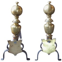 17th Century Spanish Louis XIII Andirons or Firedogs