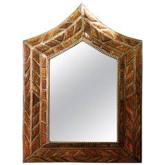 Arched Orange Camel Bone Mirror, Bevelled