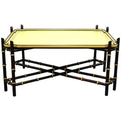 Baker Hollywood Regency Chinoiserie Faux Bamboo Cocktail Table