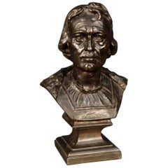 Italian in Chiseled and Bronzed Metal Bust Representing a Noble Figure