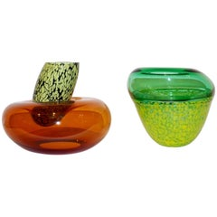 Hilton McConnico by Formia 1990s Italian Orange and Green Murano Art Glass Vases