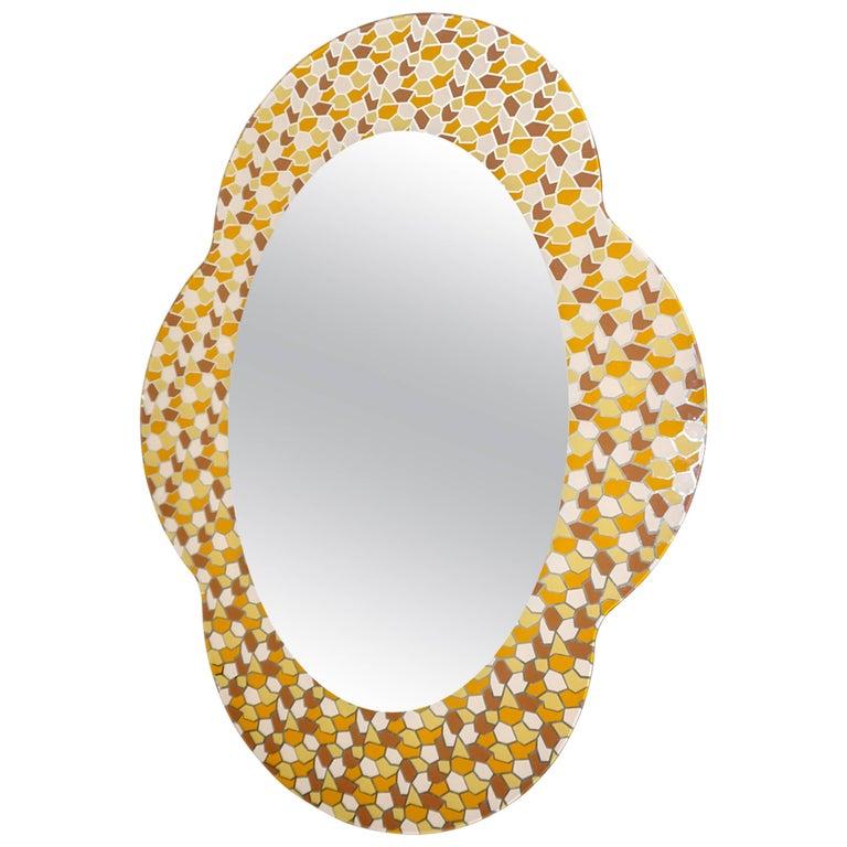 2000 Alessandro Mendini for Glas Italia Postmodern Orange Yellow Brown Mirror