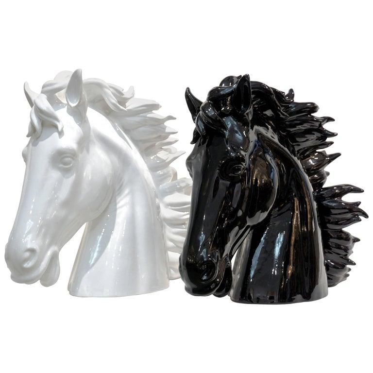 Modern Italian Design Oversized Black and White Ceramic Horse Head Sculptures
