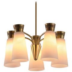 1950s Mauri Almari Five-Glass Brass Chandelier for Itsu, Finland